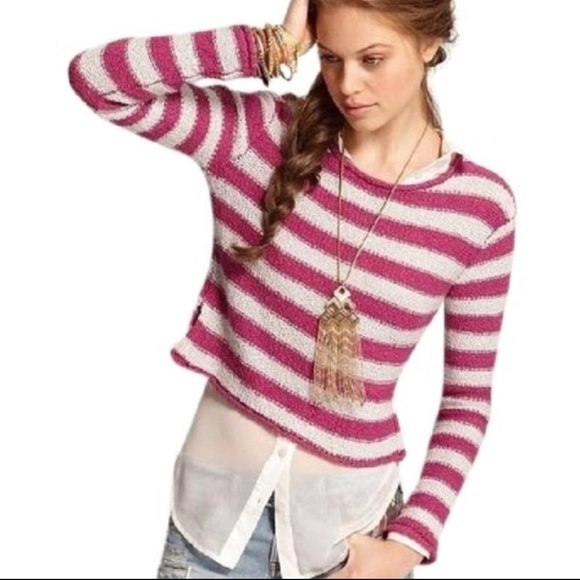 8d099e7950 Free People Sweaters | Fp Beach Pink Striped Crop Sweater L | Poshmark